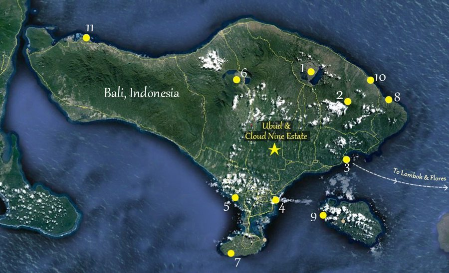 Location in bali cloud nine estate bali map of bali places to visit2 gumiabroncs Gallery
